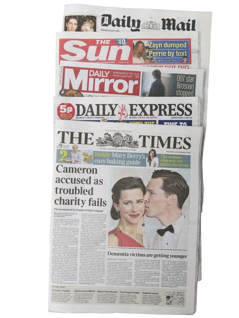 british newspapers, the times, daily express